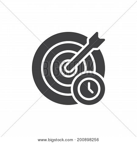 Target and arrow with clock icon vector, filled flat sign, solid pictogram isolated on white. Goal symbol, logo illustration. Pixel perfect vector graphics