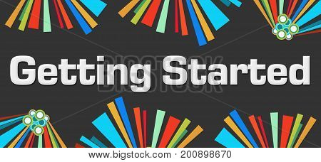 Getting started text written over dark colorful background.
