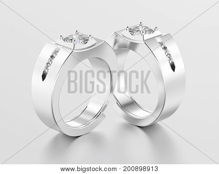 3D illustration two white gold or silver men signet diamond rings with reflection on a grey background
