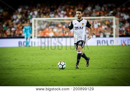VALENCIA, SPAIN - AUGUST 18: Nacho Gil during Spanish La Liga match between Valencia CF and Las Palmas UD at Mestalla Stadium on August 18, 2017 in Valencia, Spain