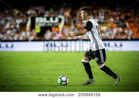 VALENCIA, SPAIN - AUGUST 18: Gaya during Spanish La Liga match between Valencia CF and Las Palmas UD at Mestalla Stadium on August 18, 2017 in Valencia, Spain