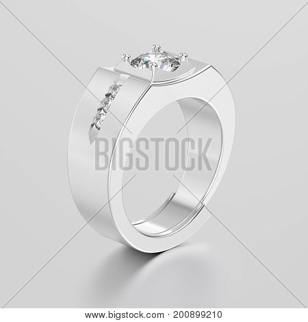3D illustration white gold or silver men signet diamond ring with reflection on a grey background