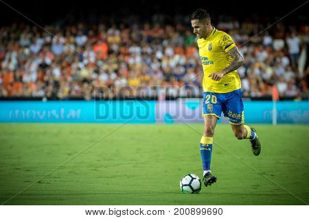 VALENCIA, SPAIN - AUGUST 18: Vitolo during Spanish La Liga match between Valencia CF and Las Palmas UD at Mestalla Stadium on August 18, 2017 in Valencia, Spain