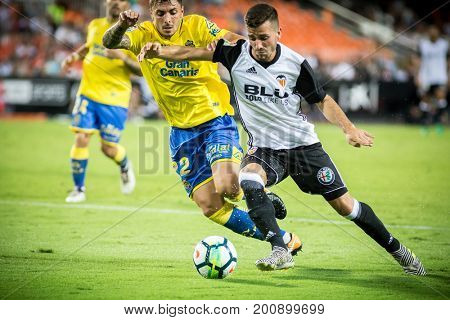 VALENCIA, SPAIN - AUGUST 18: Gaya (R) during Spanish La Liga match between Valencia CF and Las Palmas UD at Mestalla Stadium on August 18, 2017 in Valencia, Spain