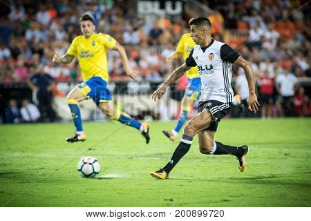 VALENCIA, SPAIN - AUGUST 18: Cancelo during Spanish La Liga match between Valencia CF and Las Palmas UD at Mestalla Stadium on August 18, 2017 in Valencia, Spain