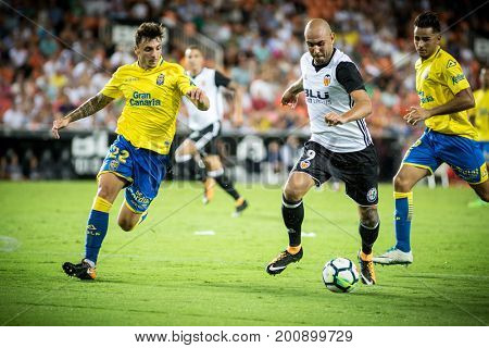 VALENCIA, SPAIN - AUGUST 18: Zaza with ball during Spanish La Liga match between Valencia CF and Las Palmas UD at Mestalla Stadium on August 18, 2017 in Valencia, Spain