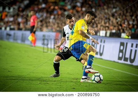 VALENCIA, SPAIN - AUGUST 18: tana with ball during Spanish La Liga match between Valencia CF and Las Palmas UD at Mestalla Stadium on August 18, 2017 in Valencia, Spain