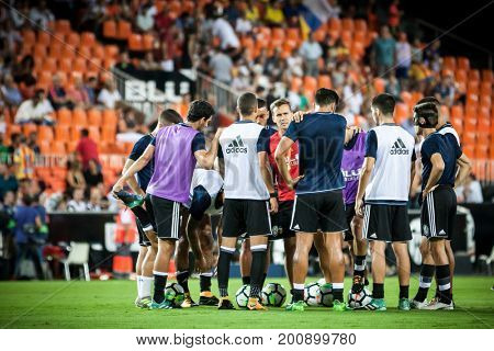 VALENCIA, SPAIN - AUGUST 18: Valencia players during Spanish La Liga match between Valencia CF and Las Palmas UD at Mestalla Stadium on August 18, 2017 in Valencia, Spain