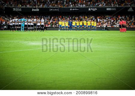 VALENCIA, SPAIN - AUGUST 18: All players during Spanish La Liga match between Valencia CF and Las Palmas UD at Mestalla Stadium on August 18, 2017 in Valencia, Spain