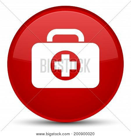 First Aid Kit Bag Icon Special Red Round Button