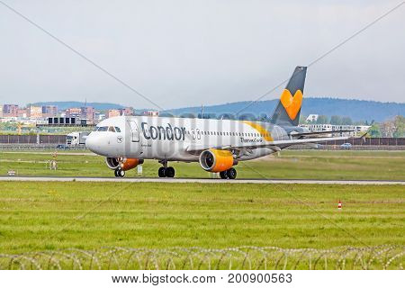 Airplane From Condor Before Takeoff, Airport Stuttgart, Germany