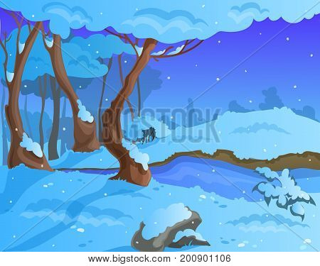 Cartoon winter background, for a game art