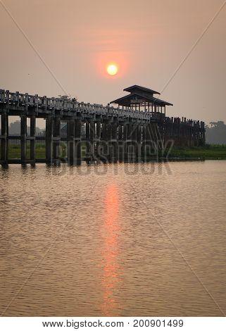 U Bein Bridge In Mandalay, Myanmar
