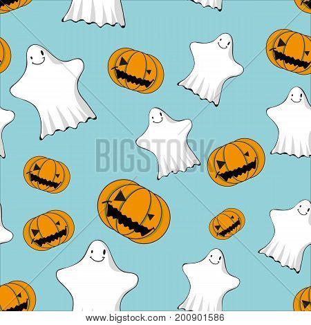 cute ghosts and jack o lanterns seamless pattern