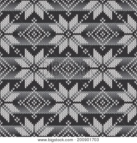 Fair Isle Traditional Knitted Pattern. Seamless Knitting Texture with Shades of Grey Colors