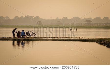 Fishing On Lake In Mandalay, Myanmar