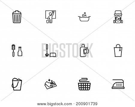 Set Of 12 Editable Cleanup Outline Icons. Includes Symbols Such As Clean, Bleach, Maximum Power And More