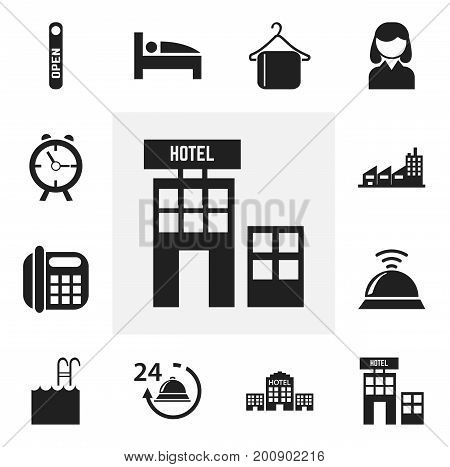 Set Of 12 Editable Motel Icons. Includes Symbols Such As Building, Female, Alarm And More