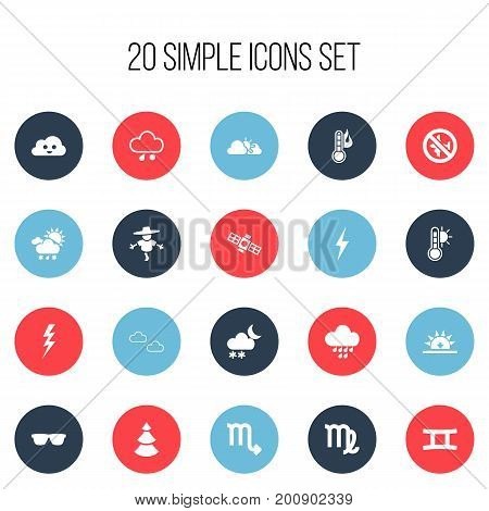 Set Of 20 Editable Climate Icons. Includes Symbols Such As Sunset, Mist, Sleet And More