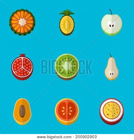 Set Of 9 Editable Dessert Flat Icons. Includes Symbols Such As Jonagold, Orange, Guava And More