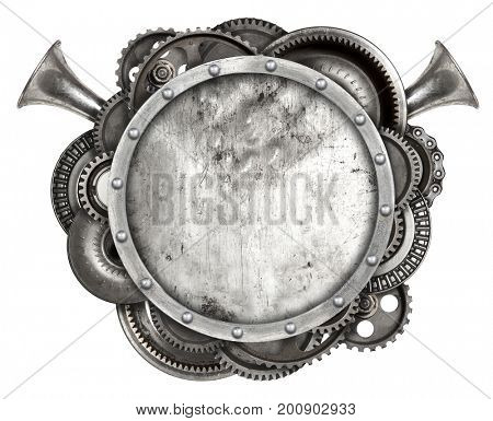 Metal frame and old auto spare parts car isolated white background