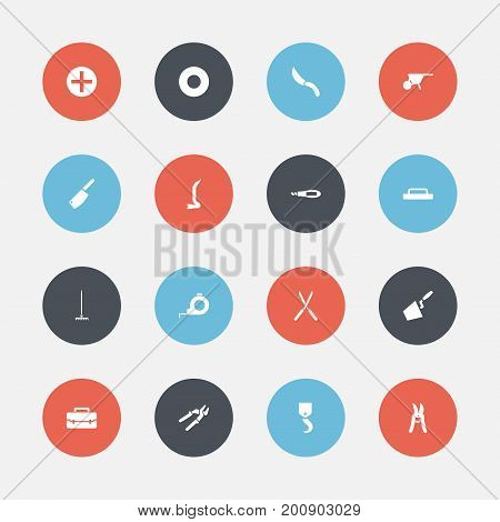 Set Of 16 Editable Instrument Icons. Includes Symbols Such As Plus, Trowel, Trowel And More