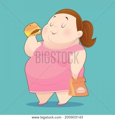 The Fat Woman is Enjoy Eating Many Junk Foods - Overweight People Taste Fast Food Idea Concept With Character Design Vector Illustration 10 EPS