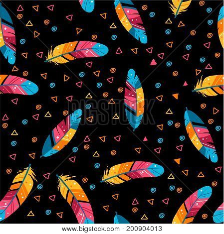Seamless pattern with colored feathers. Black background. Fashionable style. Vector illustration