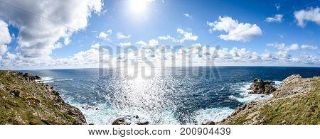 View Of Atlantic Ocean Rocky Cliffs -  Cabo Tourinan Spain.