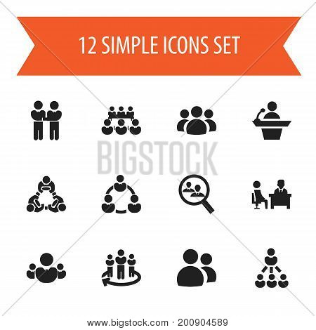 Set Of 12 Editable Business Icons. Includes Symbols Such As Partnership, Meeting, Leader And More