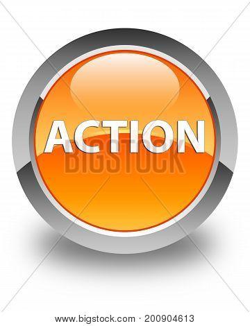 Action Glossy Orange Round Button