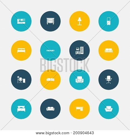 Set Of 16 Editable Interior Icons. Includes Symbols Such As Sofa, Ergonomic Seat, Cabinet And More