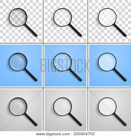 Magnifying lens / glass, magnifying glass with shadow, located at an angle of 45 degrees to the left with a different refraction, isolated on a transparent, blue, white background. Realistic vector