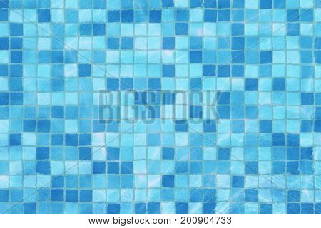 Swimming Pool Mosaic Bottom Caustics Ripple Like Sea Water And Flow With Waves Background, Sport And