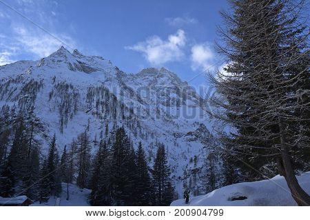 winter morning in formazza valley in italy