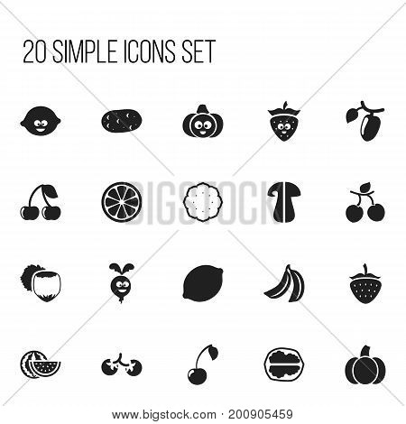 Set Of 20 Editable Kitchenware Icons. Includes Symbols Such As Watermelon, Lemon Piece, Jungle Fruit And More