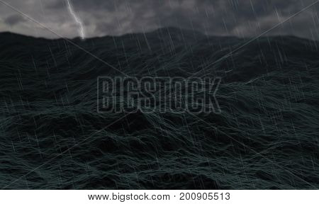 stormy ocean waves on rough sea or stormy ocean water with thunder and lightning and cloudy weather