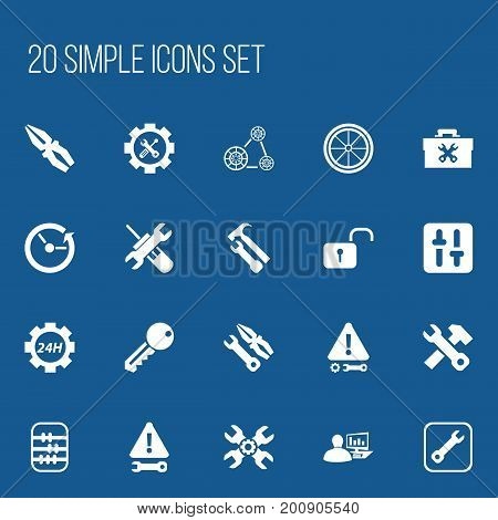Set Of 20 Editable Toolkit Icons. Includes Symbols Such As Opened Padlock, Screwdriver Wrench, Utility And More