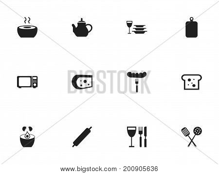 Set Of 12 Editable Cooking Icons. Includes Symbols Such As Teapot, Break Eggs, Baguette And More