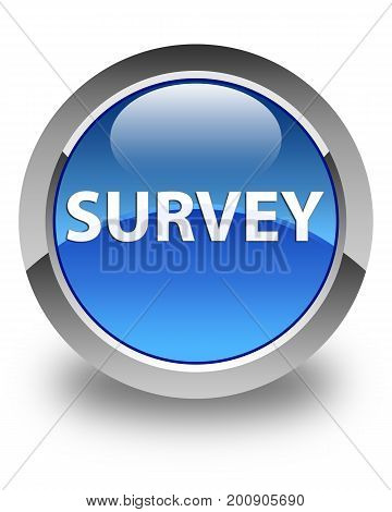 Survey Glossy Blue Round Button