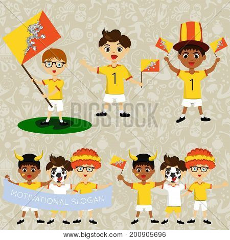 Set of boys with national flags of Butane. Blanks for the day of the flag independence nation day and other public holidays. The guys in sports form with the attributes of the football team