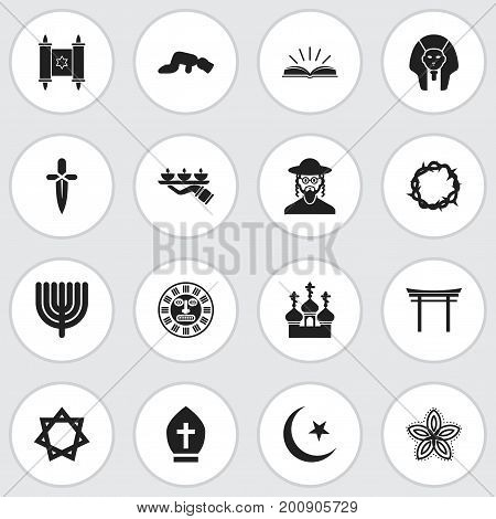 Set Of 16 Editable Religion Icons. Includes Symbols Such As Hebrew, Shinto, Christ Wreath And More