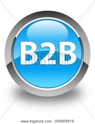B2B Glossy Cyan Blue Round Button