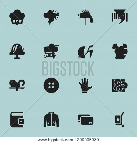 Set Of 16 Editable Business Icons. Includes Symbols Such As Pushcart, Freight Delivery, Basket And More