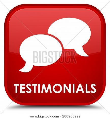 Testimonials (chat Icon) Special Red Square Button