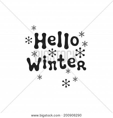 Hello winter. Christmas calligraphy phrase. Handwritten brush seasons lettering. Xmas phrase. Hand drawn design element. Happy holidays. Greeting card text. Christmas calligraphy