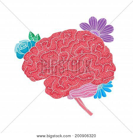 Vector illustration of human brain with flowers isolated on white background for medical design or idea of logo