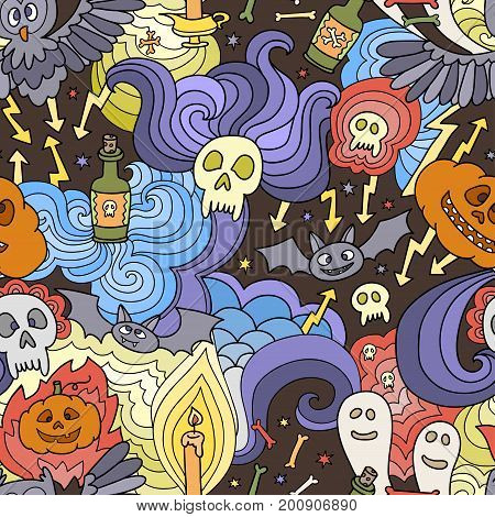 Happy Halloween seamless pattern with pumpkins, ghosts, spiders. Vector crazy background for Halloween