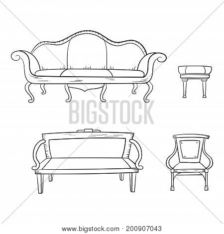 Antique furniture set - chair, couch, sofa, chair isolated on a white background. Vector drawing lines.