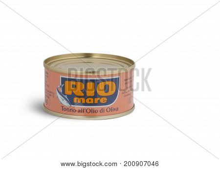 CHISINAU MOLDOVA - AUGUST 12 2016: Can of Rio Mare brand tuna in olive oil. Rio Mare is manufactured by Bolton Group the European leader in canned tuna fish.
